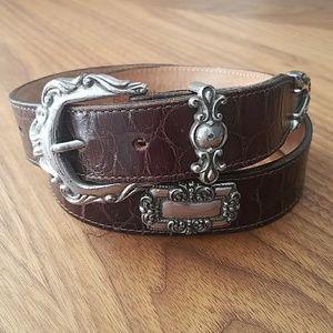 vintage 1993 BRIGHTON embossed leather concho belt
